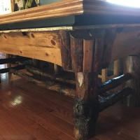 Log Golden West Pool Table with Dining Table Top and Chairs