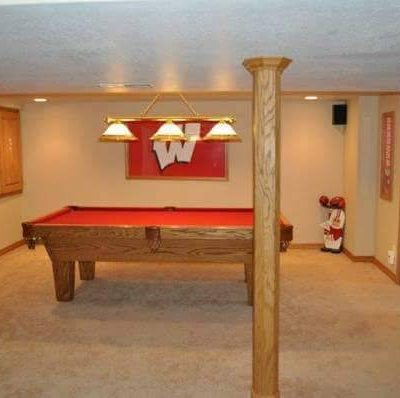 OlHausen 8Ft Pool Table, Badger Red Felt and Cue Wallmount